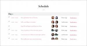 Screenshot of an schedule on the Sympose demo website